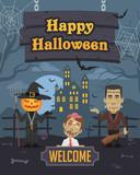 Illustration Halloween Monster Zombie Pumpkin