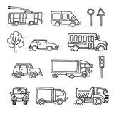 Sketch urban transportation vector set icons.