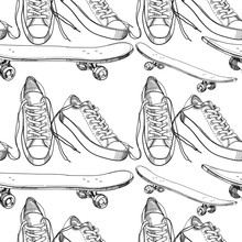 illustration of Sport shoes with  skateboard seamless pattern, w