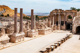 panoramic view of archaeological excavation Bet Shean, israel - 123891250