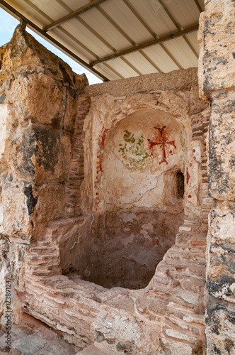 Poster baptistery in archaeological excavation Bet Shean in israel