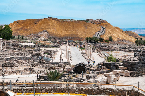 Poster panoramic view of archaeological excavation Bet Shean, israel