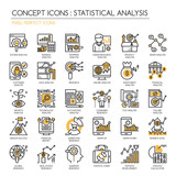 Statistical and Analysis Icon, Thin Line Icons Set , Pixel Perfe