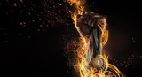 Sport. Man's hand holding up trophy medal. Winner in a competition. Fire and energy   - 123897685