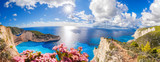 Navagio beach with shipwreck and flowers on Zakynthos island in Greece - 123899288