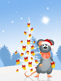 mouse and funny Christmas tree
