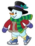 Skating snowman theme image 1