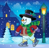 Skating snowman theme image 3