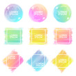 Hand-drawn watercolor brush strokes shapes set of different colors with frame isolated on a white background.  Watercolor vector background. Vector Illustration