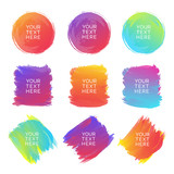 Hand-drawn watercolor brush strokes set of different shapes and colors isolated on a white background. Watercolor vector background. Vector Illustration - 123909417