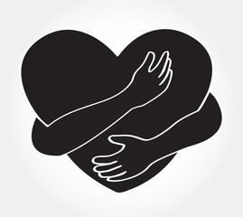 hugging heart vector , Hug yourself , Love yourself