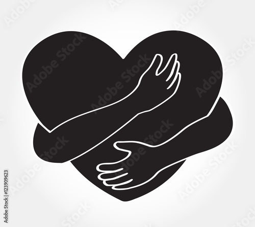 hugging heart vector , Hug yourself , Love yourself