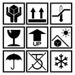 Set of black packaging symbol (side up, handle with care, fragil