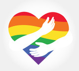 hugging heart vector , Hug yourself , Love yourself LGBT