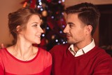 Amorous couple in red clothes