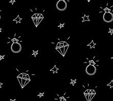 Vector Seamless vigselringar, stjärnor och juveler. Gamla skolan tatuering element. hipster stil