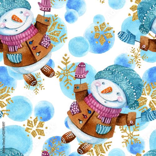 Materiał do szycia Watercolor cartoon snowman in childish style background.