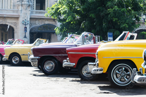 Fotobehang Havana Colorful American Classic car on the street in Havana Cuba