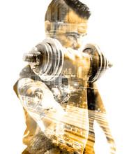 Vida saludable y deporte.Gimnasia, siłownia y entrenamiento con pesas.Doble Exposicion