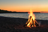 Beach Bonfire with Beautiful Sunset Sky