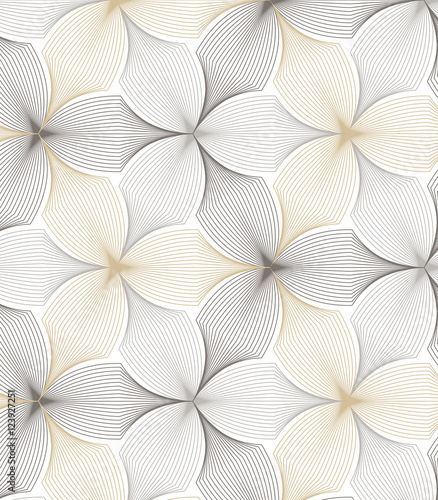 flower pattern vector, repeating linear petal of flower, monochrome stylish - 123927251