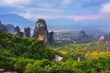 Meteora landscape and Monastery Roussanov on foreground, Greece