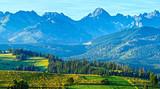 Summer mountain village panorama (Poland)
