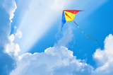 Kite flying in the sky among the clouds - 123935658