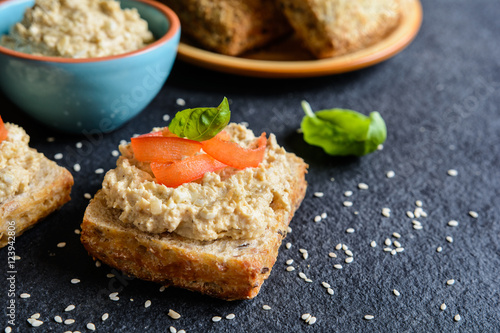 Chicken meat spread with onion, egg, mustard and dill