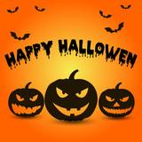 Template for poster of Happy Halloween, pumpkin