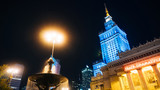 Warsaw, Poland. City center with Palace of Culture and Science, a landmark and symbol of Stalinism and communism, and modern sky scrapers. - 123945842