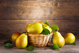 fresh pears in a basket