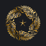 gold Art Nouveau style vector illustration