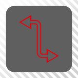Curved Exchange Arrow rounded button. Vector pictogram style is a flat symbol on a rounded square button, red and gray colors, hatched diagonally transparent background.
