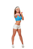 Fitness young woman working out with dumbbell
