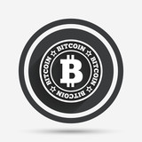 Bitcoin sign icon. Cryptography currency symbol.