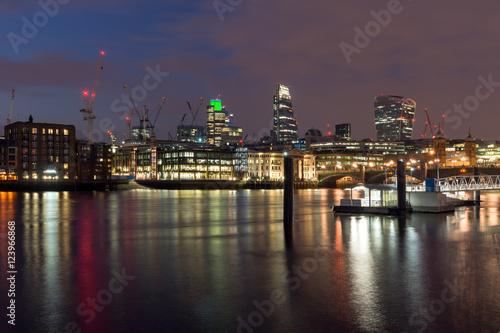 Panoramic night skyline of city of London, England, Great Britain