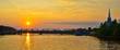 Sunset over bridge crossing the Ottawa river