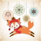 cute animal christmas celebration card vector illustration design