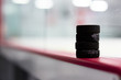 Hockey pucks along the boards