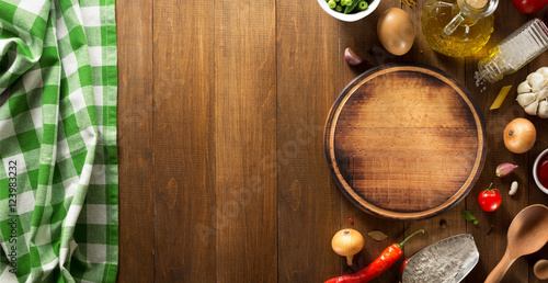 spice and herbs ingredients at wood Poster