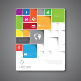 Abstract brochure template design with squares and rectangles