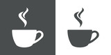 Icono plano cafe humeante gris - 123987264
