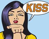 pop art woman Illustration blowing a kiss