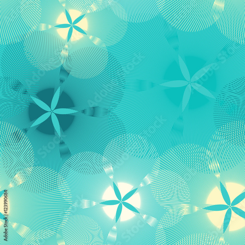 Materiał do szycia graphic flowers seamless pattern in blue