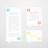 set of three quotation chat bubble in minimal white style