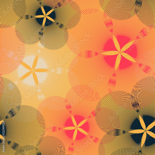 Materiał do szycia graphic flowers seamless pattern in red yellow and black