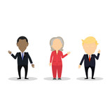 October. 10, 2016. Famous politician set. Isolated cartoon character on white background. Barack Obama and Hillary Clinton and Donald Trump,