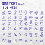 Icon set business people and finance with money, graphs, calculator, shaking hands, hand drawn vector doodle
