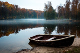 autumn landscape, river, haze, evening, boat